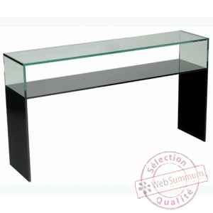 color console en verre tremp 100x30 dans meuble. Black Bedroom Furniture Sets. Home Design Ideas