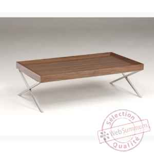 Table basse rectangulaire plateau en mdf plaque noyer - pied inox en x X150WN