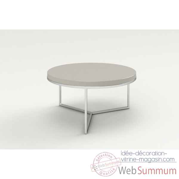 Table basse ronde laquee & inox taupe Marais International -SAT80LT