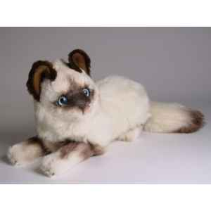 Peluche allongee chat birman 30 cm Piutre -2314