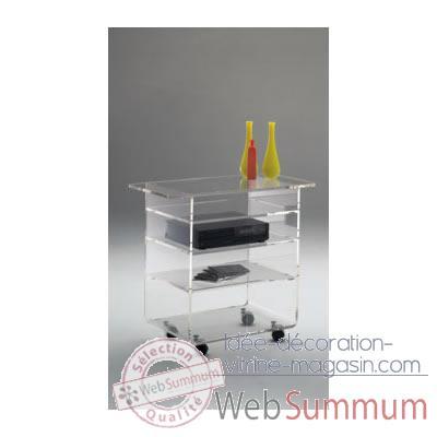 Table t l marais en verre coll tremp cvideo dans for Table tele en verre