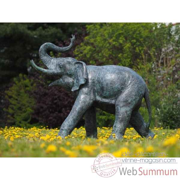 Sculpture elephant en bronze thermobrass -b74235