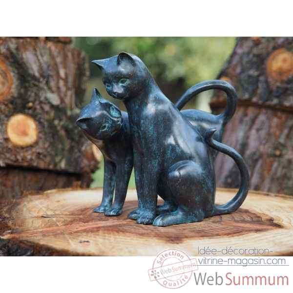Statue en bronze 2 chats aimables thermobrass -an2350br-vi
