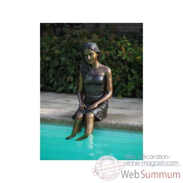 Statue en bronze fille assise thermobrass -b1296