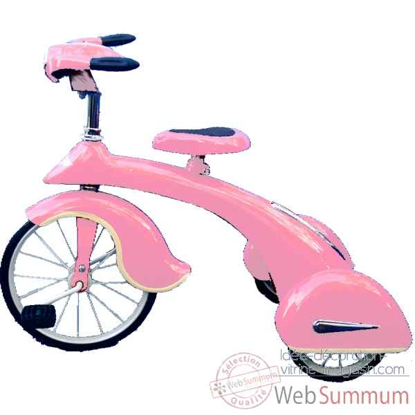 Velo trike retro en metal a pedales rose junior sky king AF-015