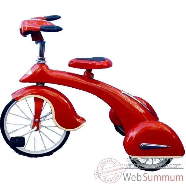 Velo trike retro en metal a pedales rouge junior sky king AF-014