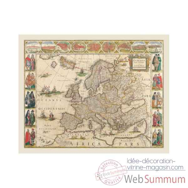 Carte de l\'europe en parchemin vieilli Zoffoli -Art.3351